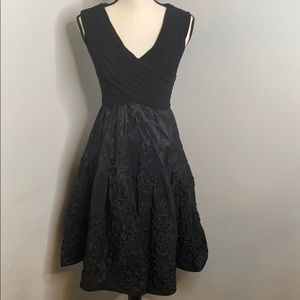Adrianna Papell ruched ruffle black dress - 4P